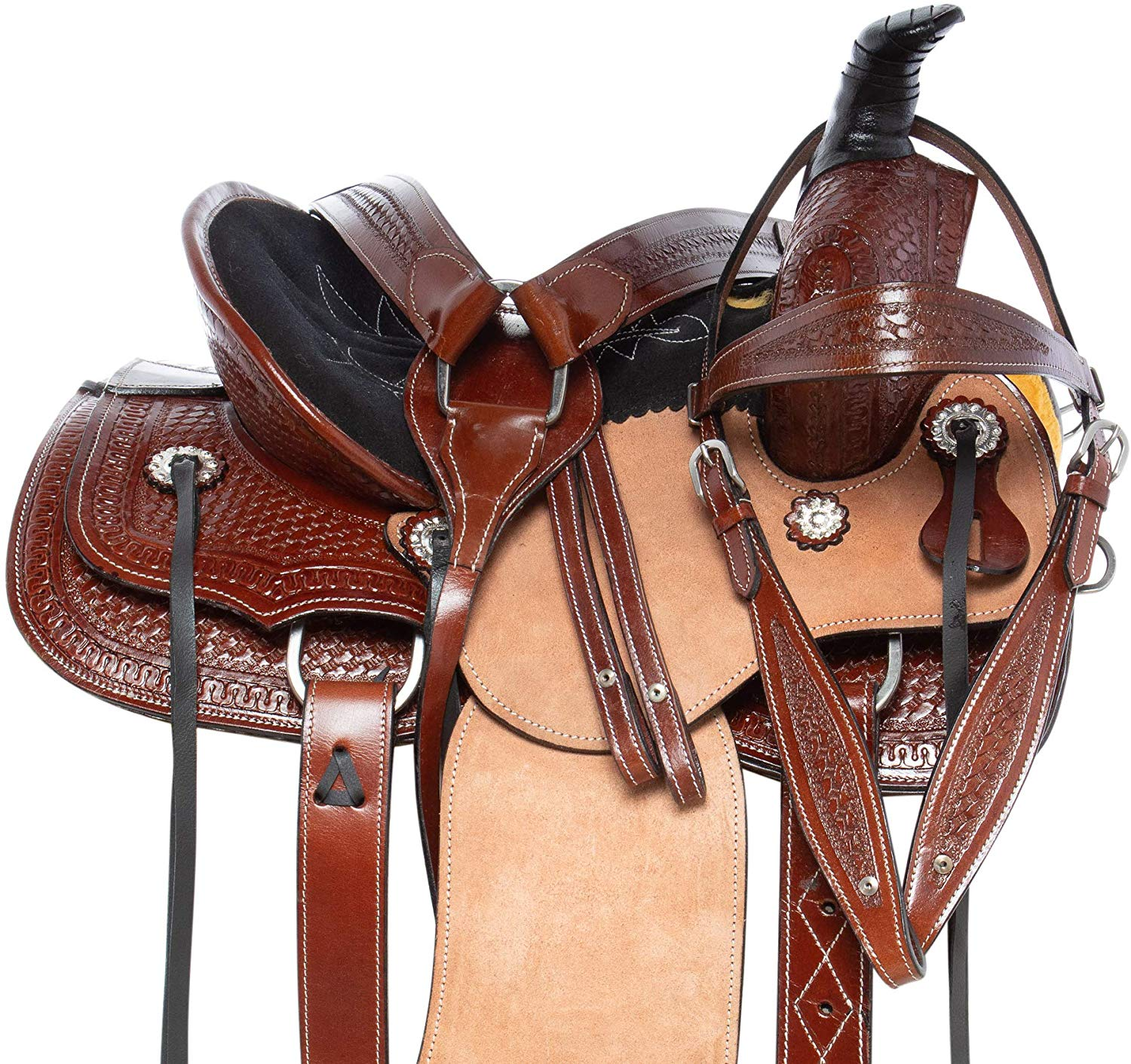 AceRugs Beginner Western Horse Saddle Pleasure Trail Barrel Racing Ranch Work Leather TACK Package