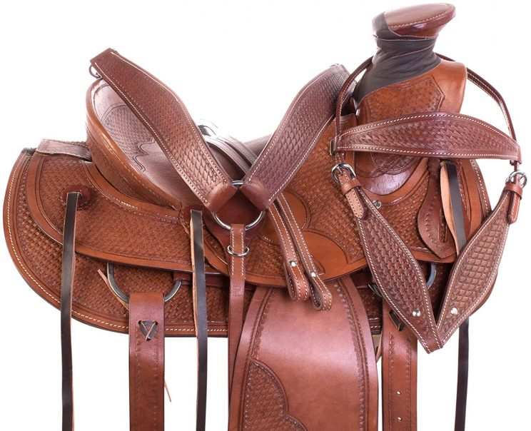 AceRugs Western Tooled Ranch Roping Pleasure Horse Saddle