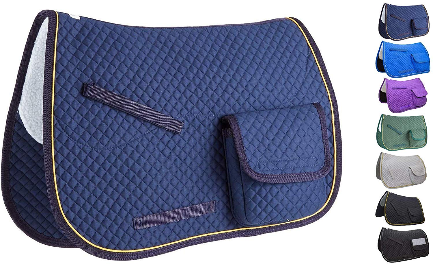Derby Originals Premium Half Fleece Lined All Purpose & Dressage English Saddle Pads with Pockets