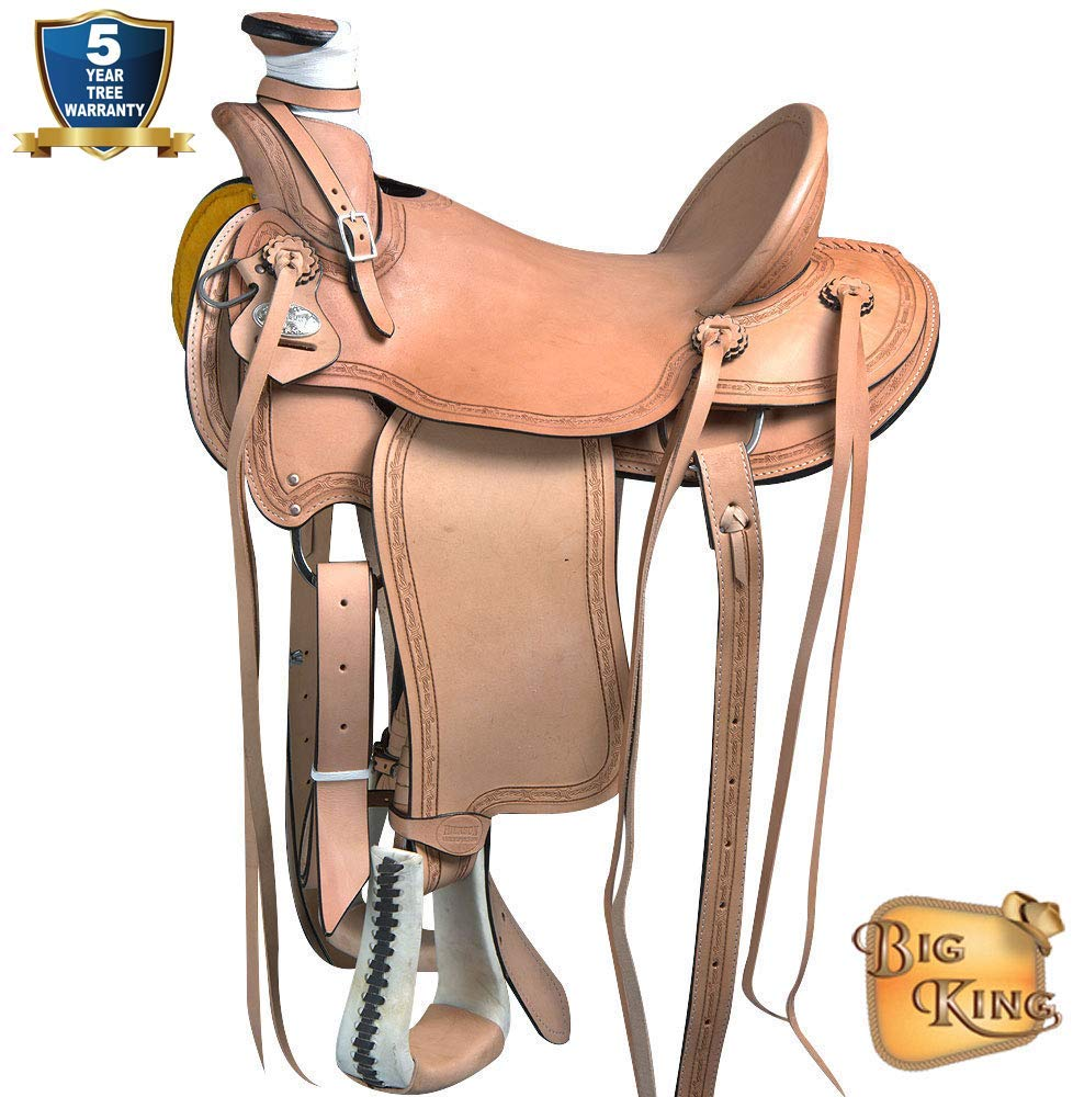 HILASON in Western Horse Wade Saddle Leather Ranch Roping Tan